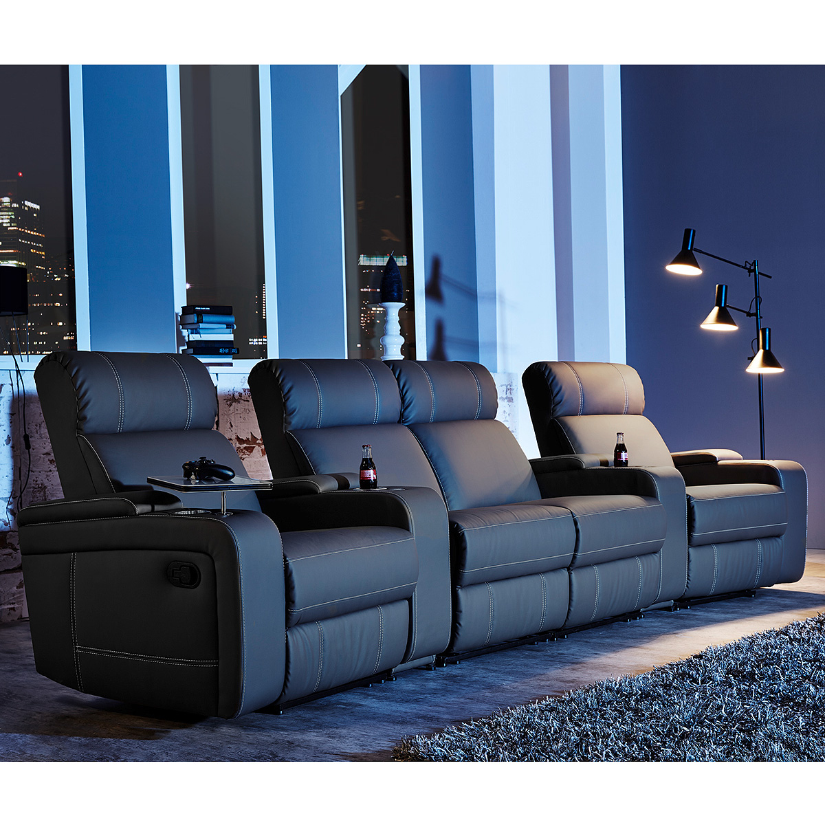 Getränkehalter Sessel Cinema Sessel Hollywood 4er Kinosessel Kinosofa Sofa