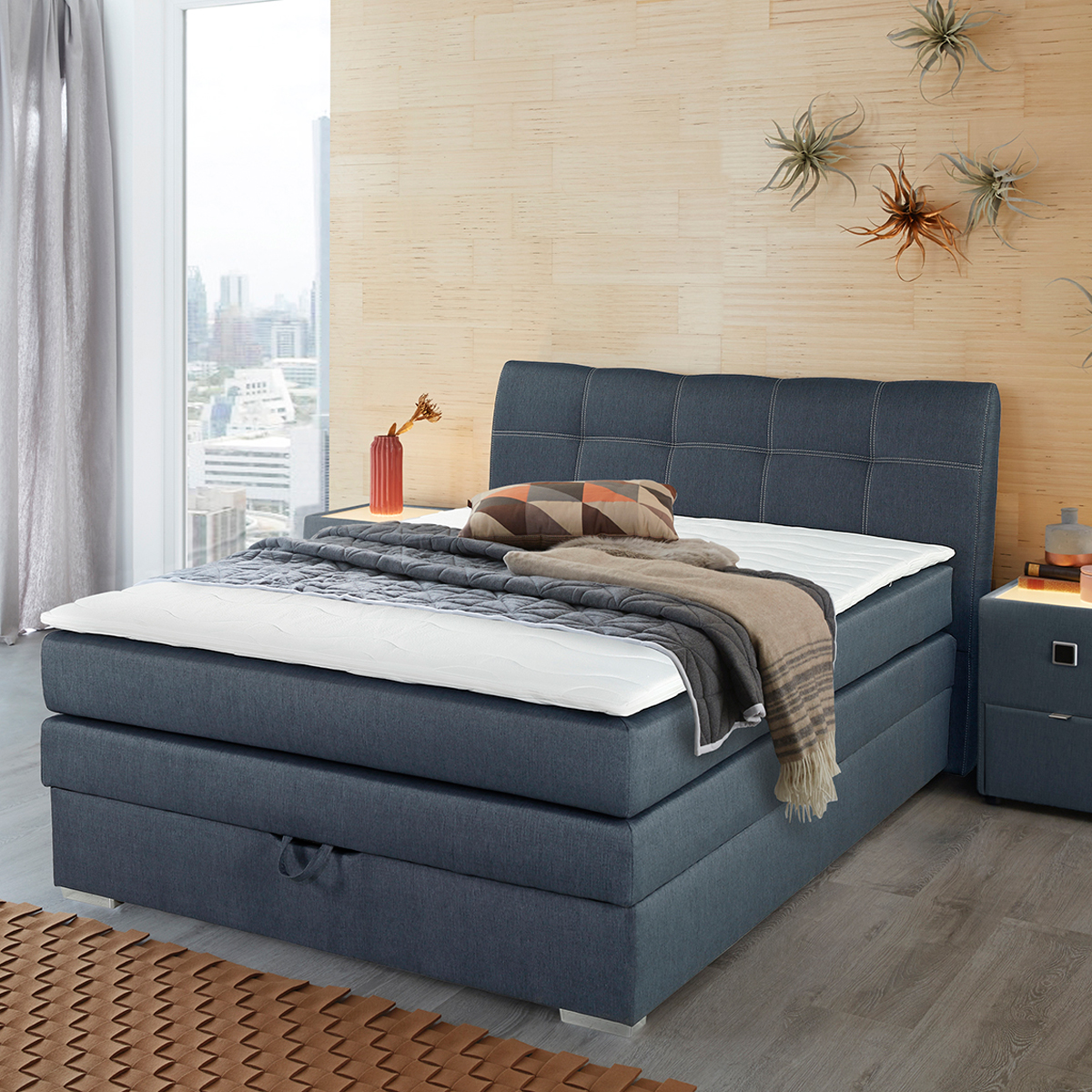 Boxspringbett Amelie 140 In Graublau Mit Bettkasten Topper