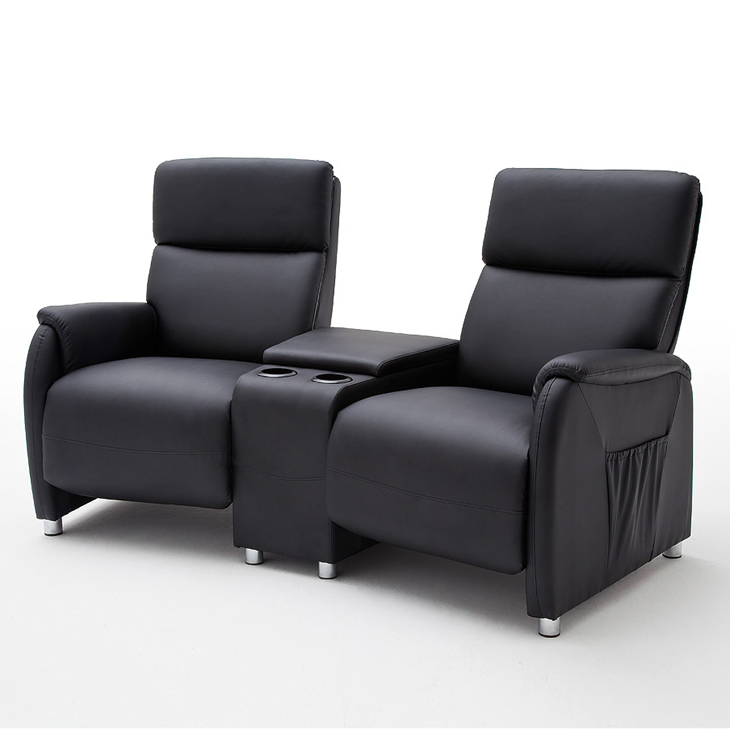 2er Cinema Sessel Kino 2er Sessel Dani Cinema Sofa Lederlook Schwarz Mit
