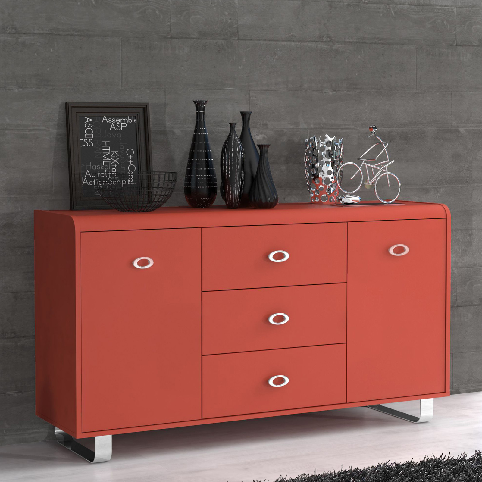 Sideboard Rot Tv Unterschrank Gipsy Kommode Sideboard In Orange Blau Rot