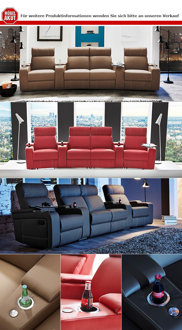 4er Cinema Sessel Cinema Sessel Hollywood 4er Kinosessel Kinosofa Sofa Schwarz