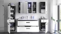 Badezimmer Set MELISSA 5-tlg in grau wei Hochglanz mit ...