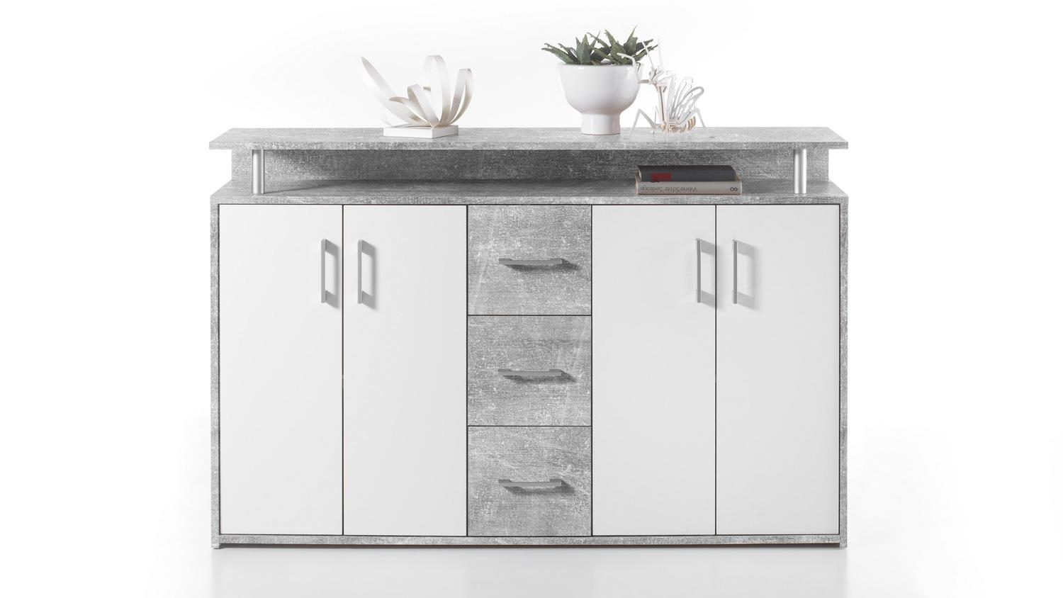 Kommode Betonoptik Kommode Drift Highboard In Beton Optik Grau Und Weiß Inkl