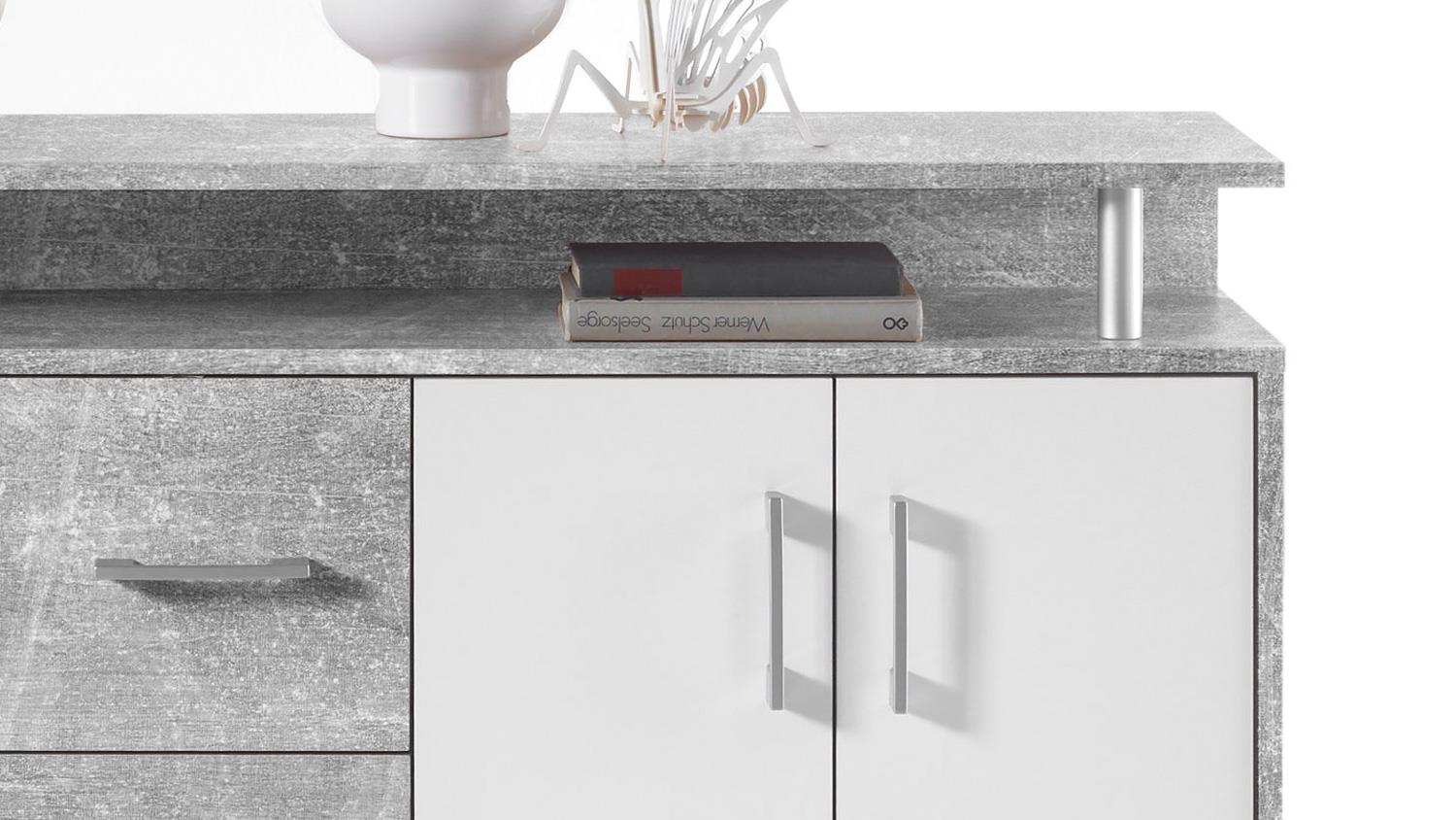 Beton Sessel Kommode Drift Highboard In Beton Optik Grau Und Weiß Inkl