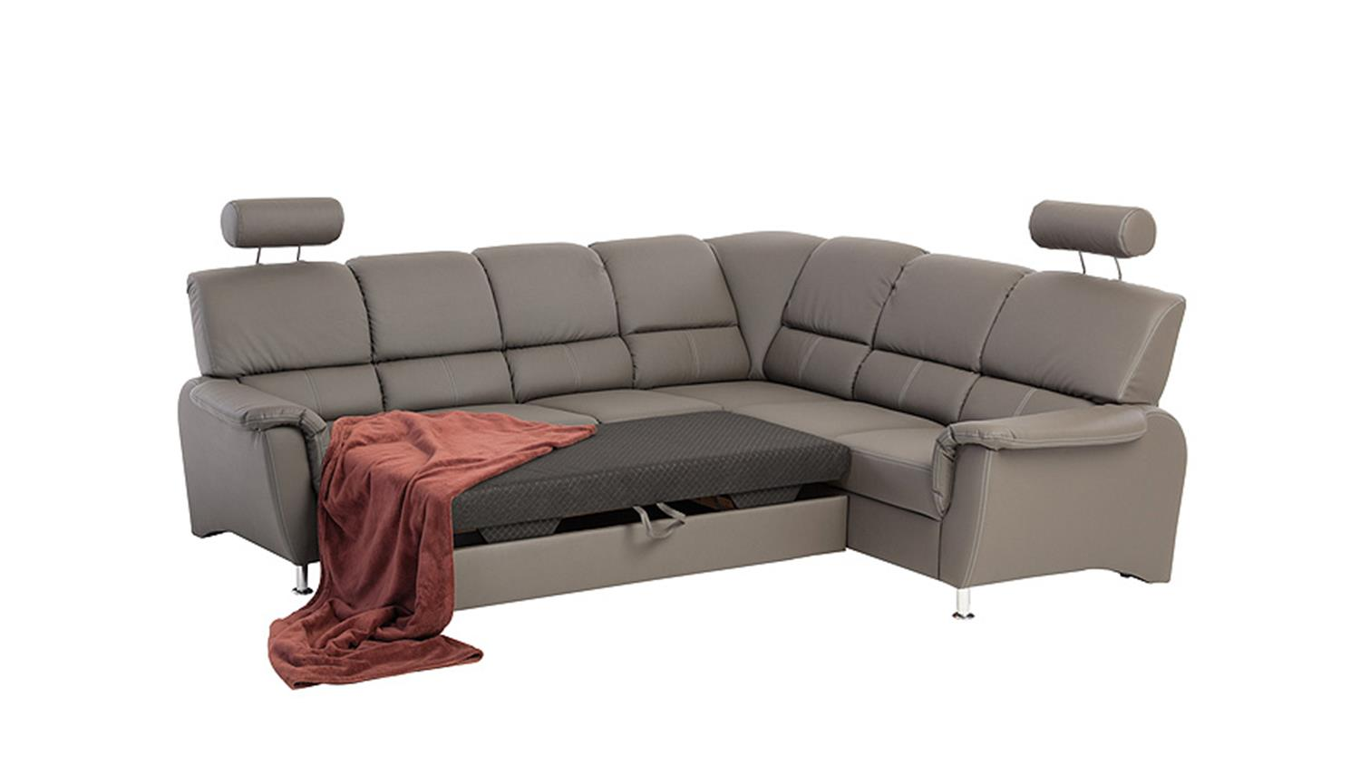 Sessel Mit Bettfunktion Ecksofa Pisa Eckgarnitur L-sofa Dunkelgrau Bettfunktion