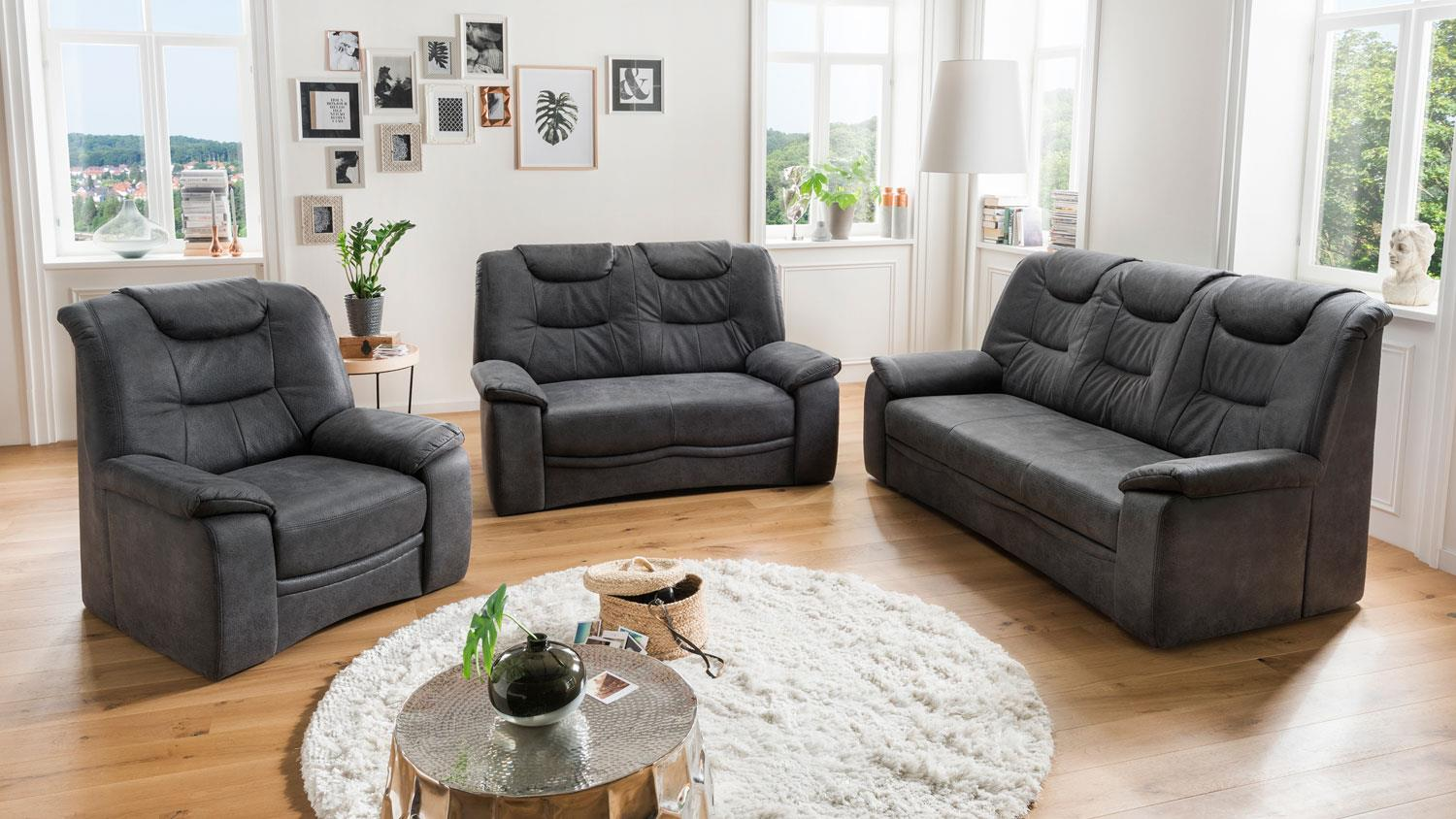Couch Federkern 3-sitzer Grande Sofa Couch In Stoff Dunkelgrau Inkl