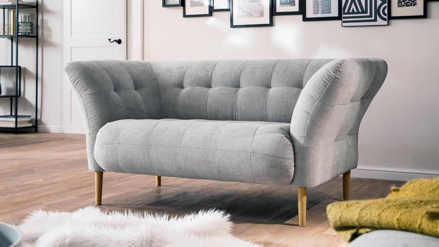 Lounge Sofa Grau Loveseat Big Apple Sofa Loungesofa Couch Stoff Silber Grau 160x97 Cm
