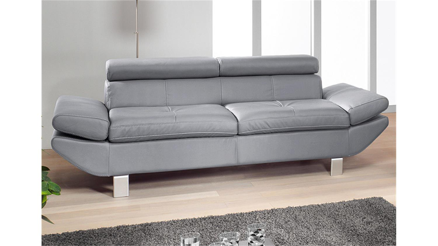 3er Sofa 3 Er Sofa Carrier Lederlook Grau 223 Cm