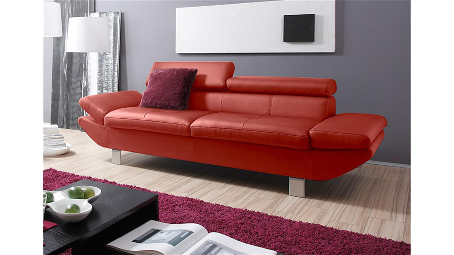 Polstermöbel Garnitur Sofa Garnitur Carrier Polstermöbel Mit Relaxfunkion In Rot