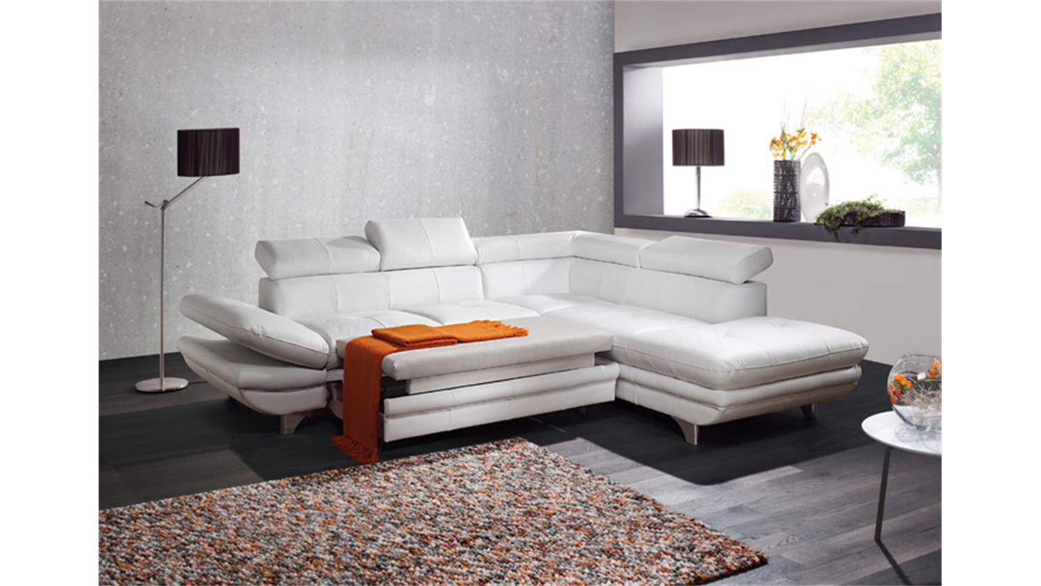 Ecksofa Energy Ecksofa Enterprise Sofa Wohnlandschaft Weiß Bettfunktion