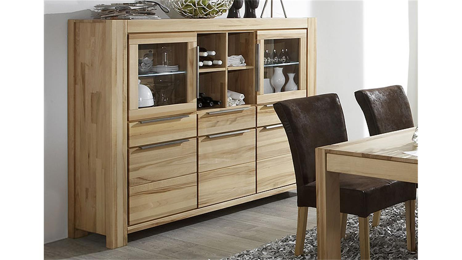 Couchtisch Nena Highboard Nena Sideboard Vitrine In Kernbuche Massiv Geölt