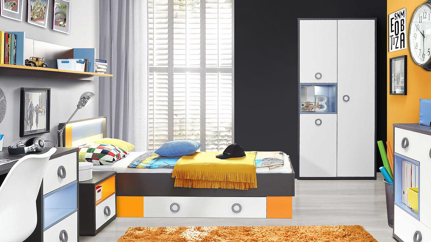 Jugenzimmer Jugendzimmer Colors Kinderzimmer In Uni Wolfram Grau Weiß Orange Blau