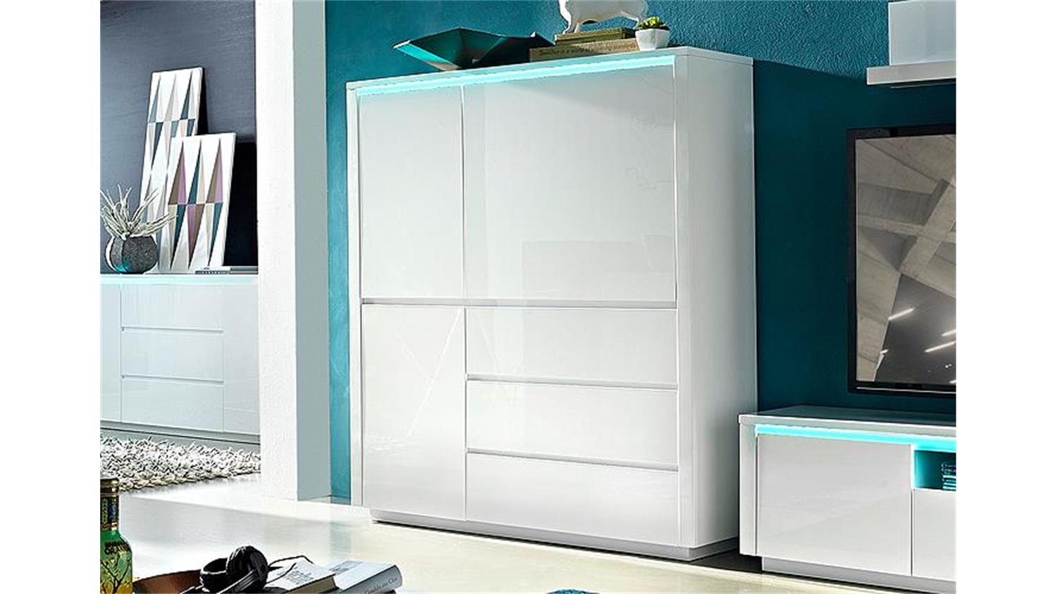 Highboard Weiss Hochglanz Highboard Chicago In Weiß Hochglanz Inklusive Rgb Led
