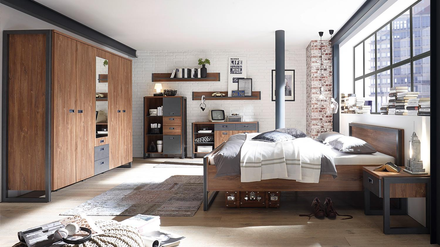 Industrial Style Schlafzimmer Bett Detroit Bettgestell In Stirling Oak Und Matera