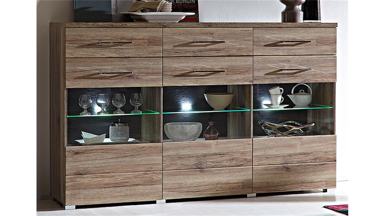 Deal Möbel Highboard Deal Schrank San Remo Eiche Glaseinsatz Und Led