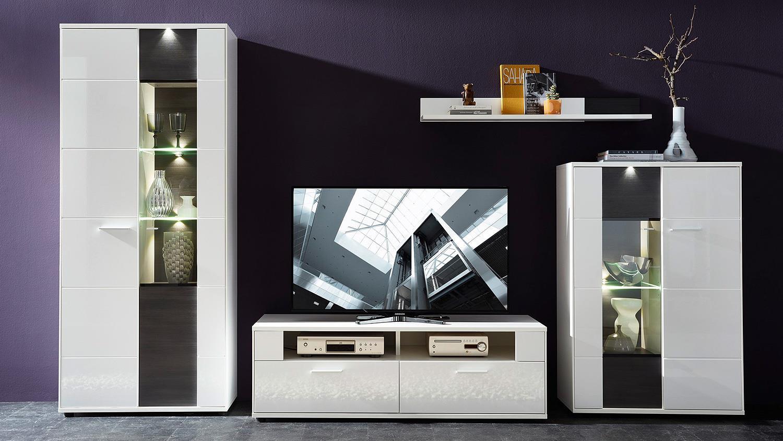 Wohnzimmer Vitrine Weiß Hochglanz | Dreams4home Medienschrank ...