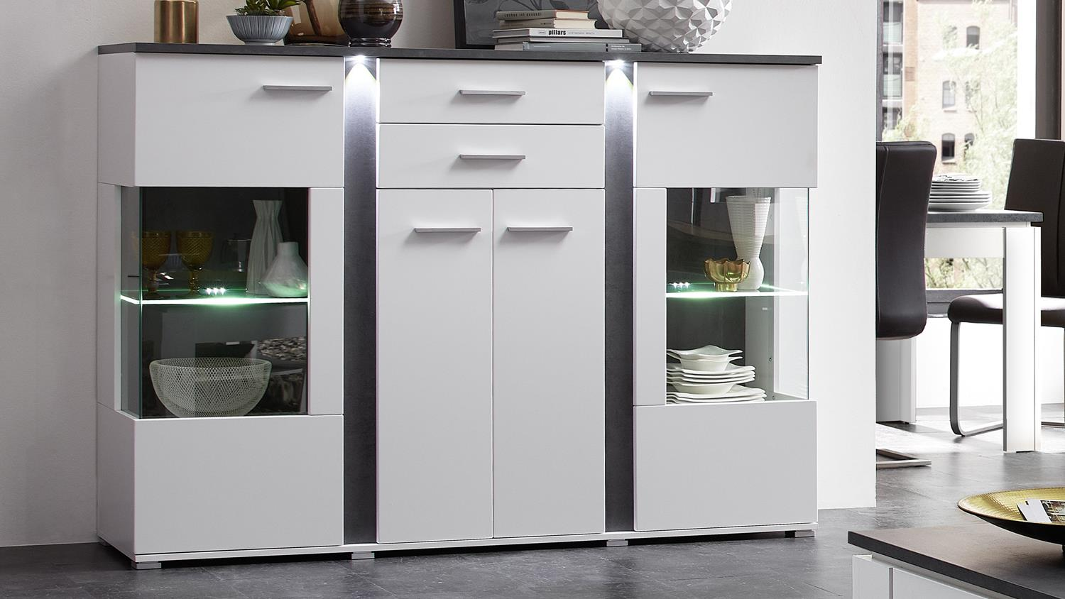 Highboard Spurt Mit Led In Supermatt Weiß Und Betonoptik