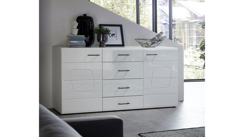 Wohnzimmer Kommode Weiß Hochglanz
