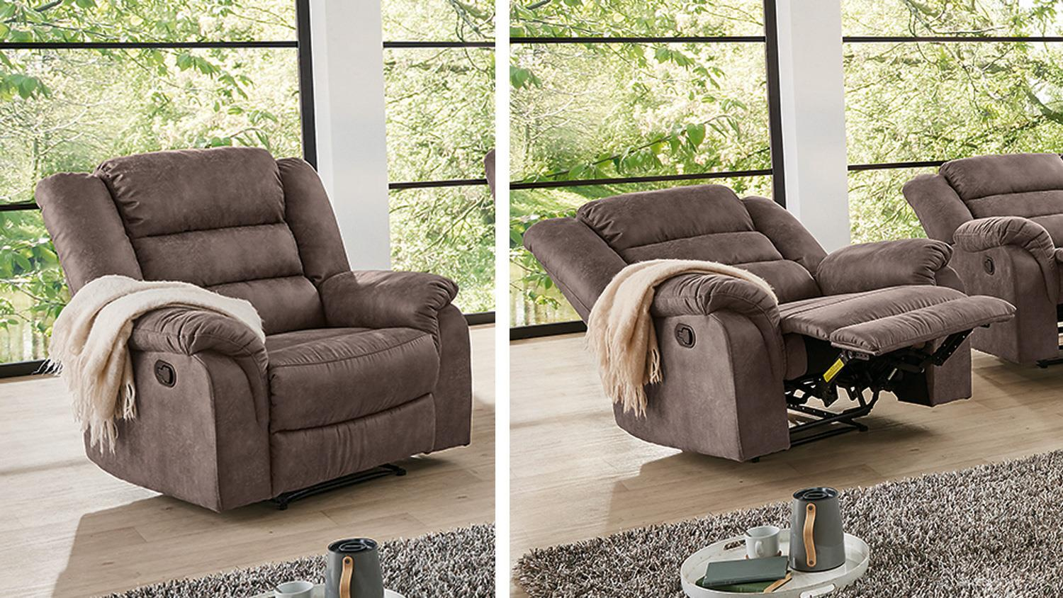 Sessel In Braun Fernsehsessel Cleveland Sessel Sofa Relaxsessel Mit Funktion In Braun