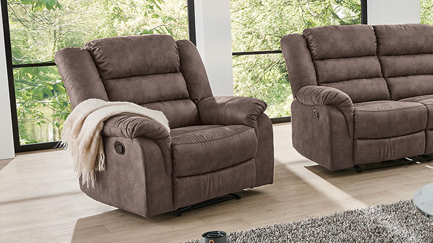 Relaxsessel Microfaser Bezug Fernsehsessel Cleveland Sessel Sofa Relaxsessel Mit Funktion In Braun