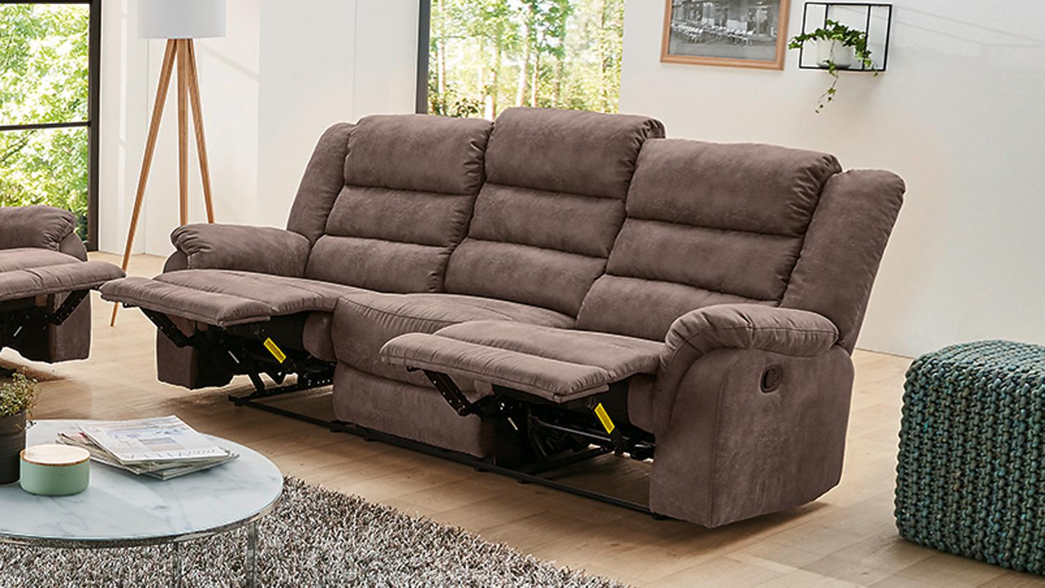 Sofa Cleveland Sessel Relaxsessel 3 Sitzer Mit Funktion In Braun 220