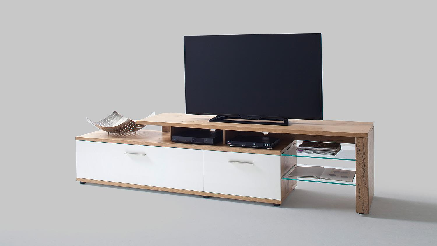 Tv Board Lowboard Tv Board 2 Nizza Lowboard Weiß Matt Lack Crackeiche Furniert
