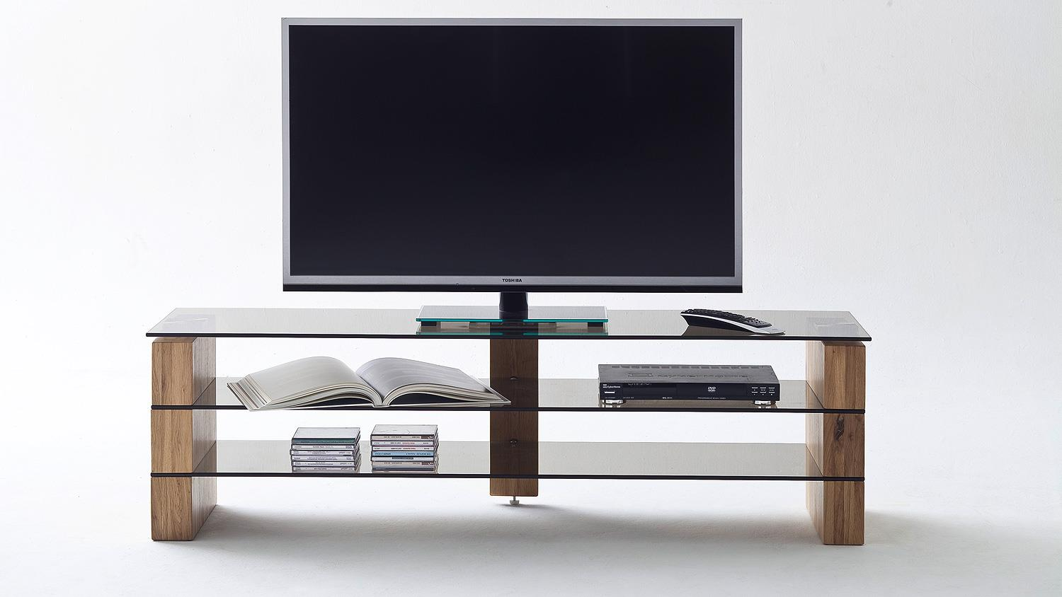 Tv Board Lowboard Tv Rack Kari Tv Board Lowboard In Eiche Massiv Glas Grau 140