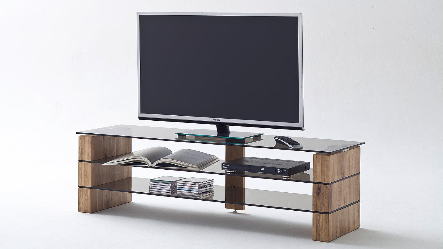 Tv Board Lowboard Tv Rack Kari Tv Board Lowboard In Eiche Massiv Glas Grau 160
