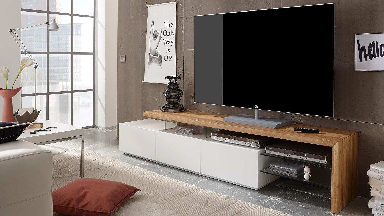 tv rack alimos tv board in weiss matt lack und eiche massiv
