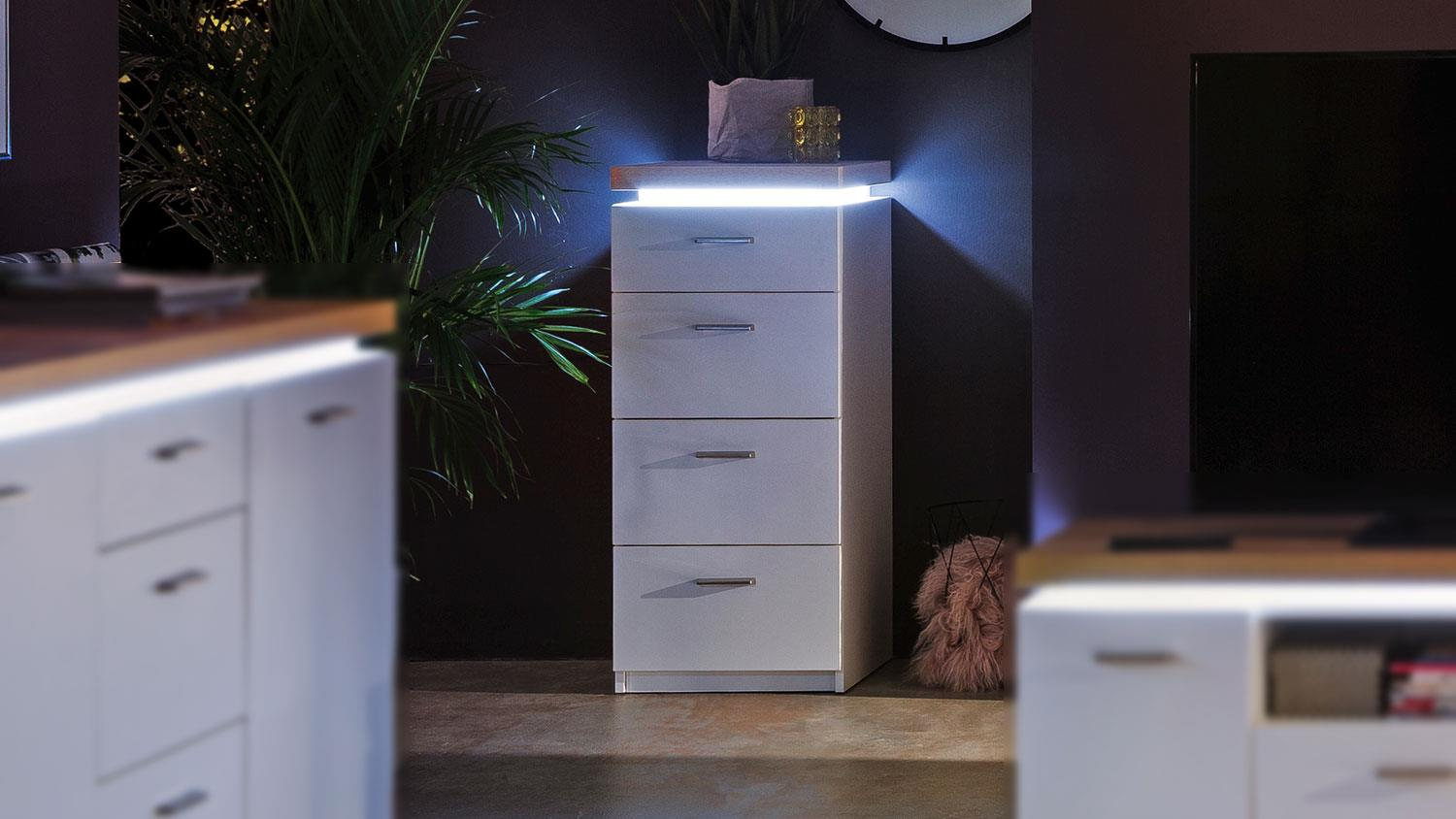 Kommode Led Kommode Cali Sideboard Anrichte Weiß Wotan Eiche Mit Led