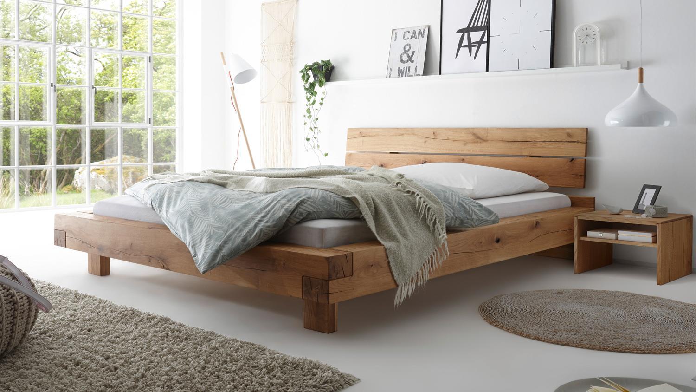 Bett Wildeiche Massivholz Bett Timber Look Mit Kopfteil D