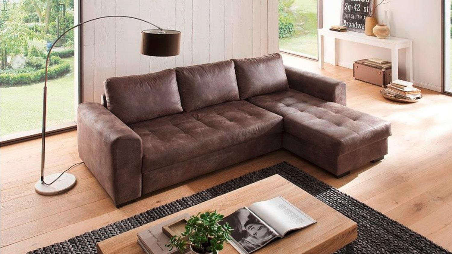 Ecksofa 2 30 X 1 60 Ecksofa Trinidad Tobago Dark Brown Schlaffunktion Bettkasten
