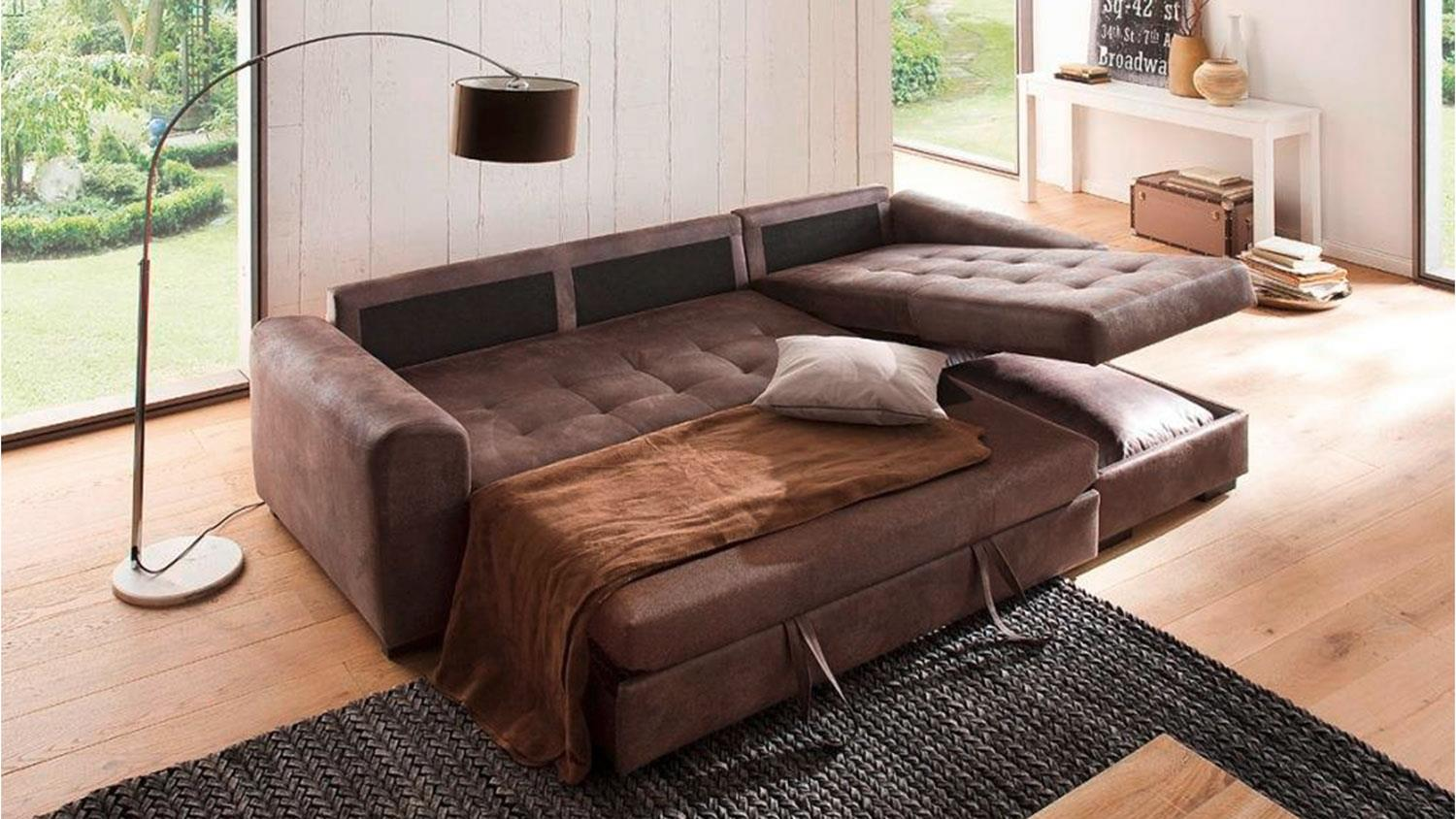Sofa Ecksofa Mit Bettkasten Sofa Trinidad Ecksofa Dark Brown Schlaffunktion Bettkasten
