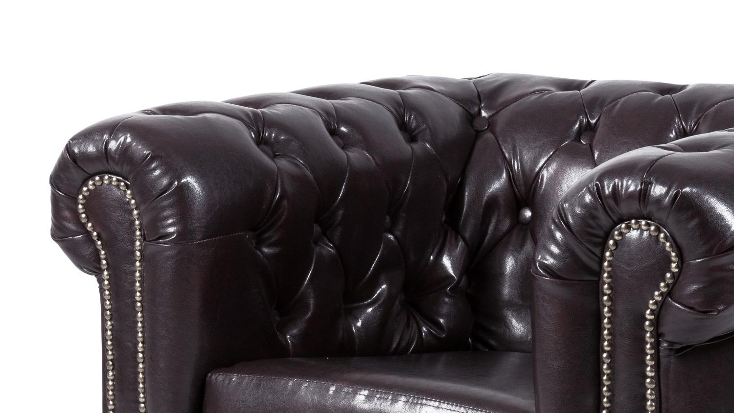 Sheffield Sessel Sessel Sheffield Einzelsessel Chesterfield Lederlook Braun
