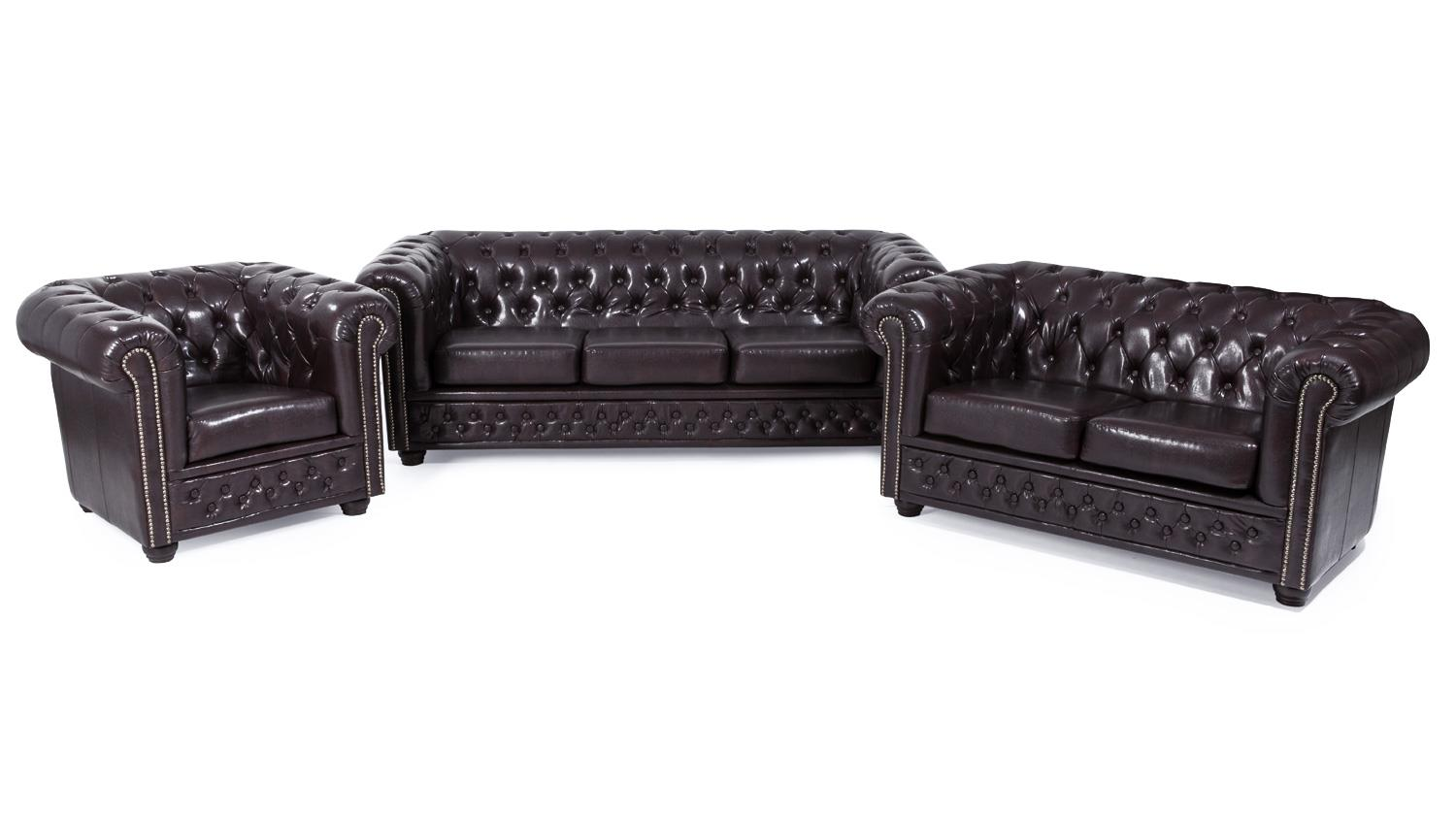 Polstergarnituren 3 2 1 Sitzer Garnitur 3-2-1 Sheffield Sessel 2 & 3 Sitzer Sofa Lederlook