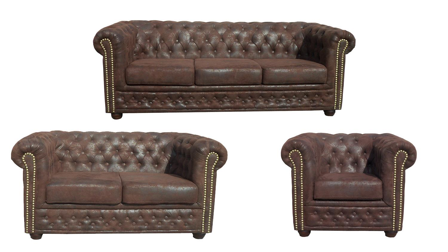 Sessel Für 2 Garnitur 3 2 1 Sheffield Sessel 2 3 Sitzer Sofa Microfaser In Braun