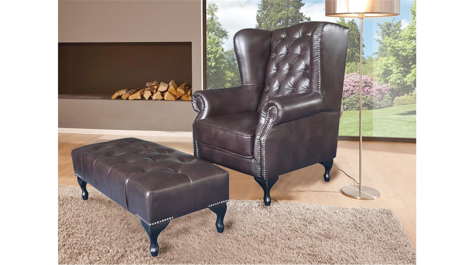 Ohrensessel Mit Hocker Chesterfield Sessel Mit Hocker
