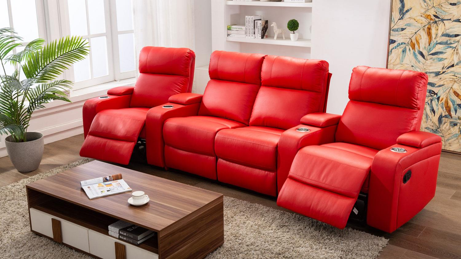 Kinosessel Couch Cinema Sofa 4er Kinosessel In Rot Mit Relaxfunktion