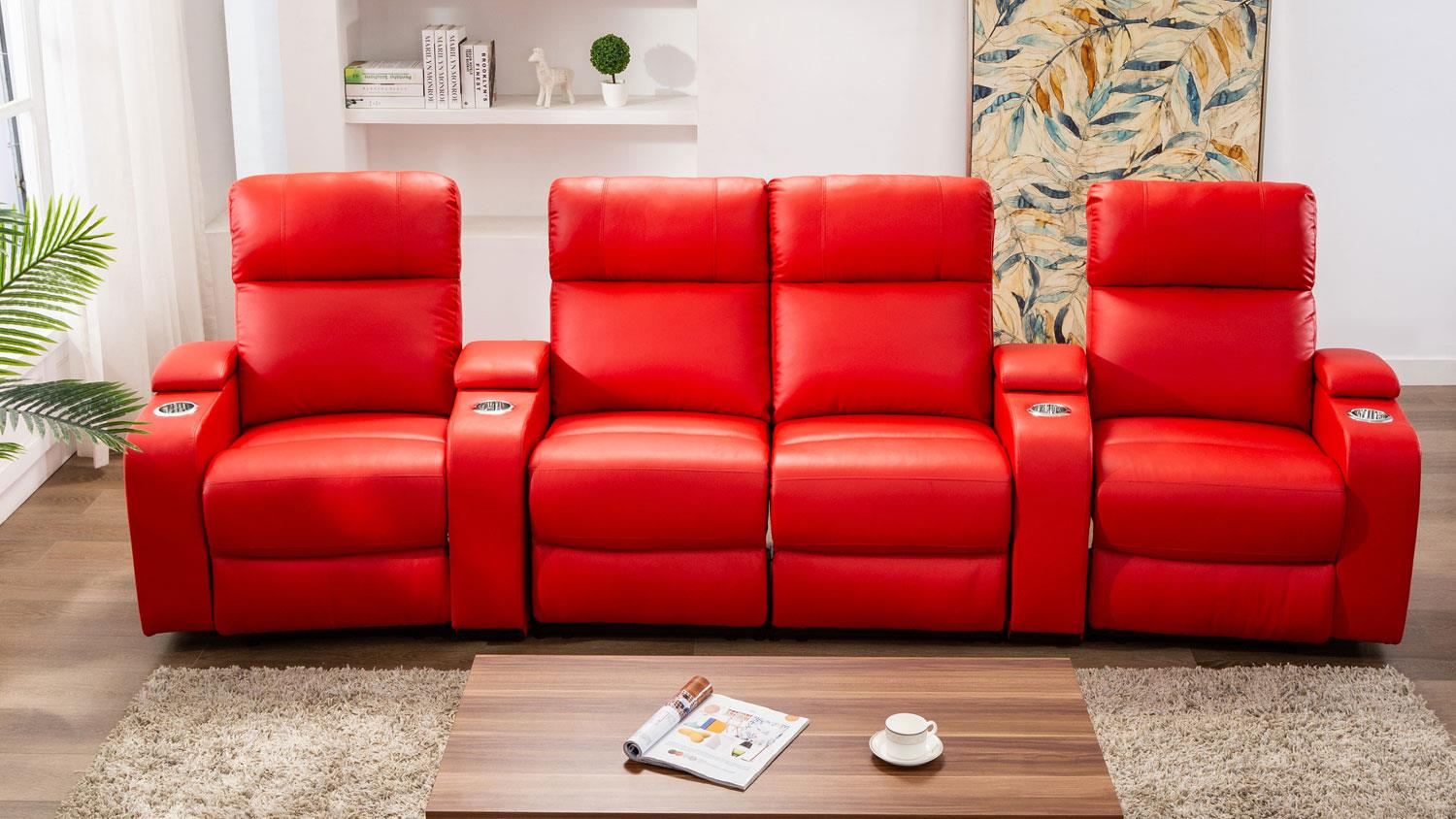 Cinema Sofa 4er Kinosessel In Rot Mit Relaxfunktion