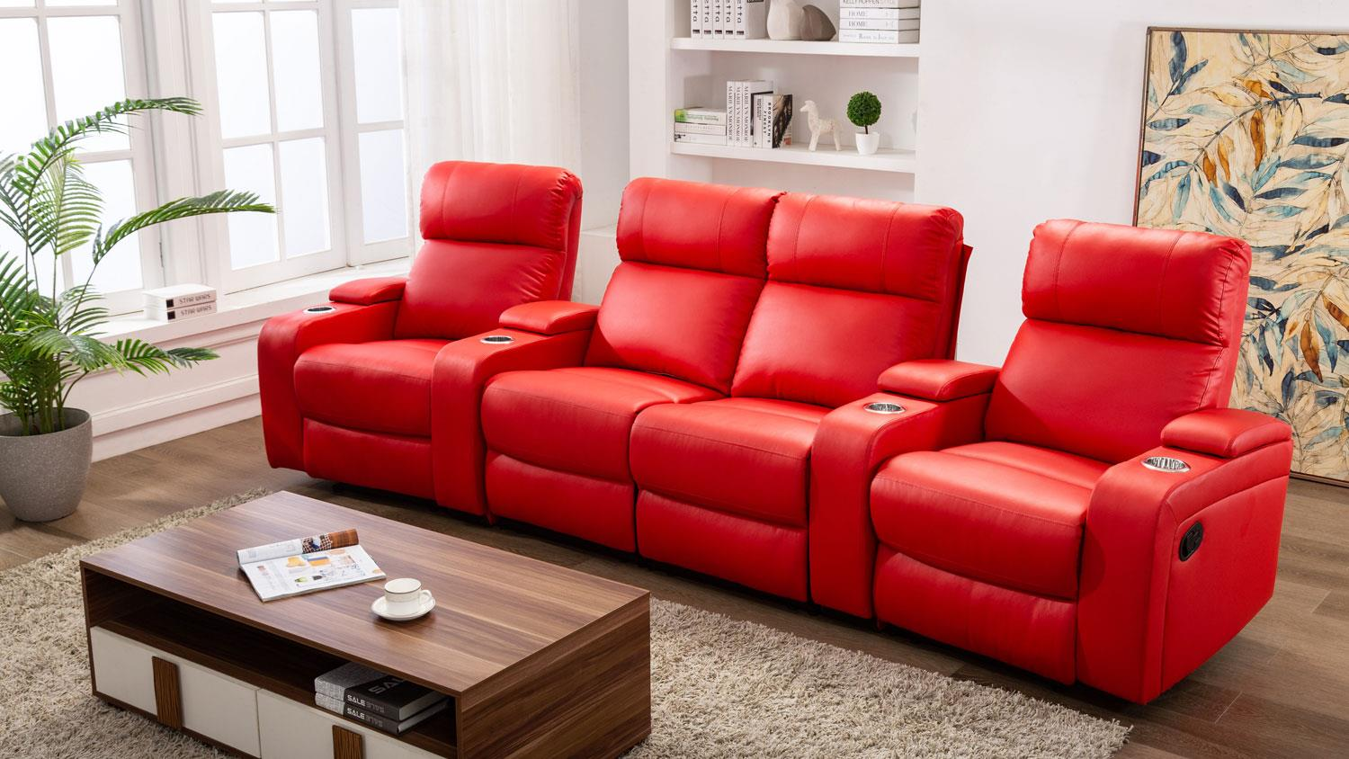 4er Couch Cinema Sofa 4er Kinosessel In Rot Mit Relaxfunktion