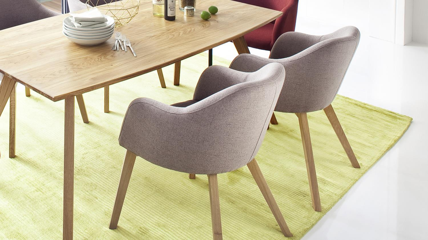 Sessel Theo Systemsessel Theo 4 Fuß Stuhl Stoff Taupe Und Eiche Natur