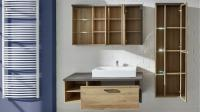 Badezimmer Set 2 BAHIA mit Waschbecken Eiche Riviera Beton