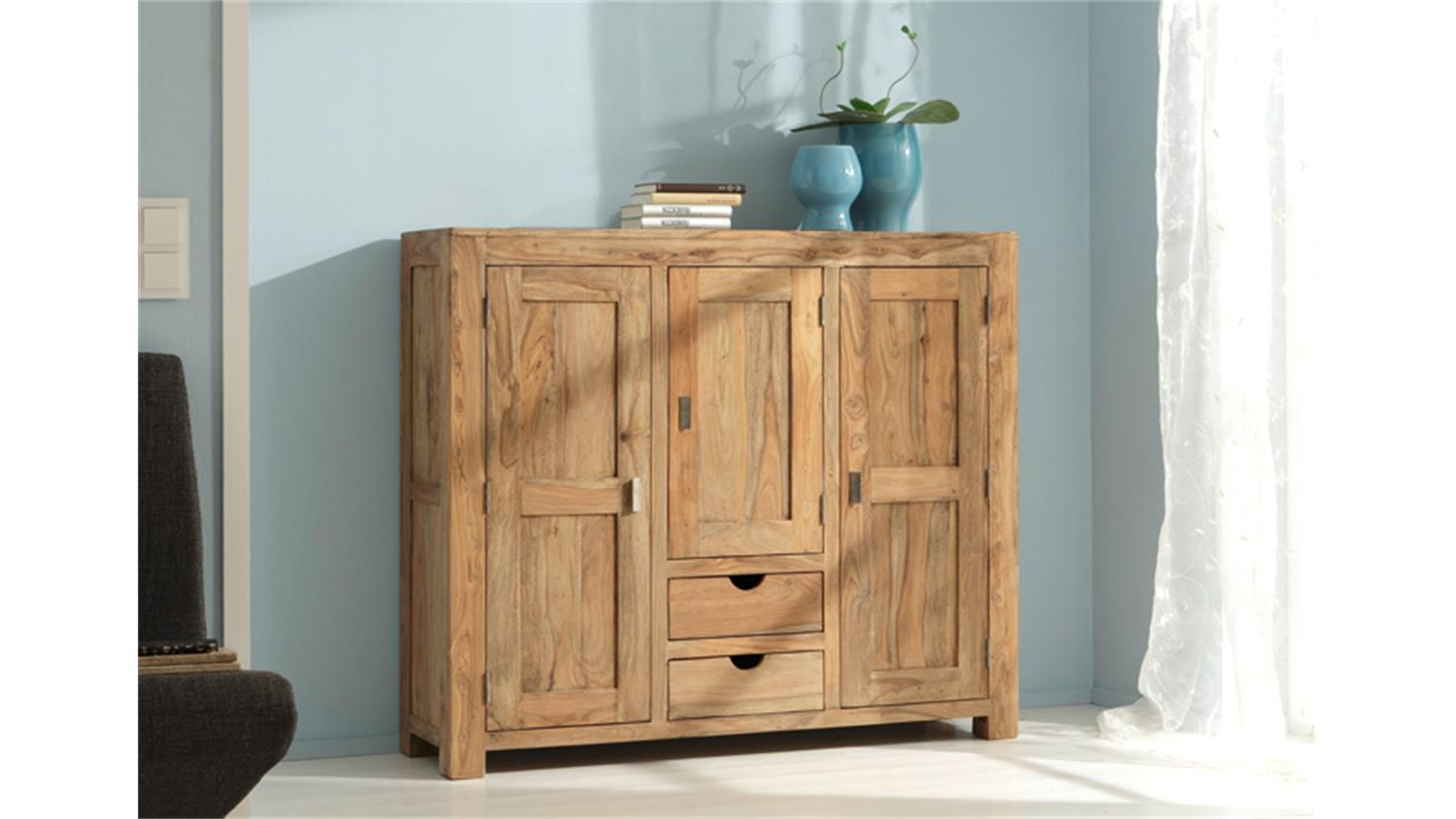 Möbel Landhausstil Natur Highboard Yoga Sheesham Massiv Landhausstil Von Wolf Möbel