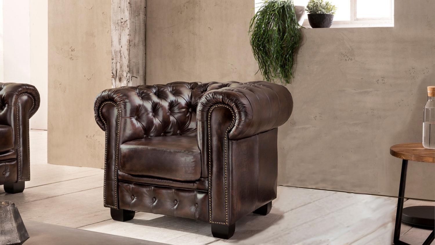 Sessel Chesterfield Chesterfield Sessel Leder Braun Antik Luxus Hochwertig