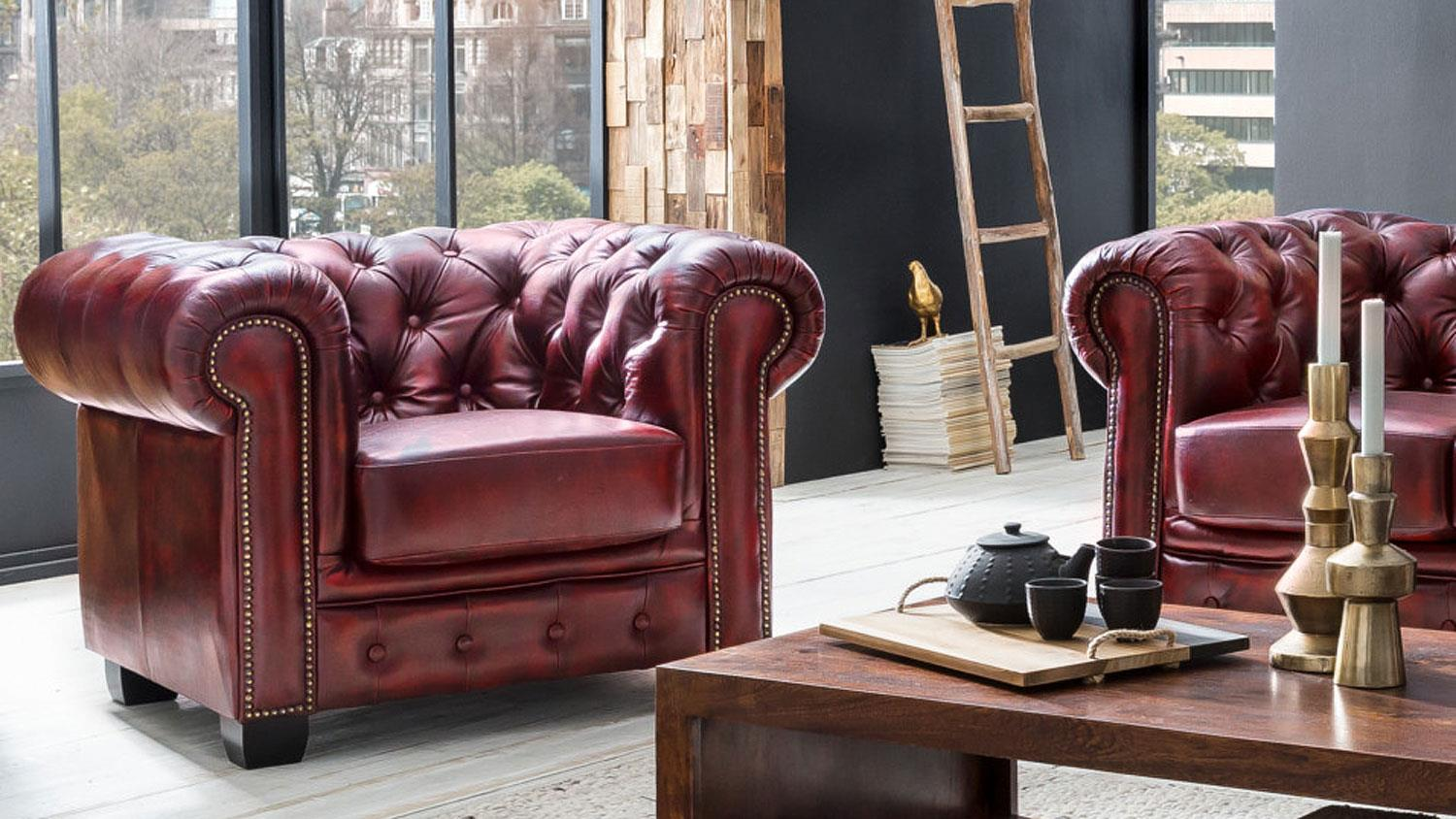 Antik Sessel Leder Chesterfield Sessel Leder Rot Antik Luxus Hochwertig