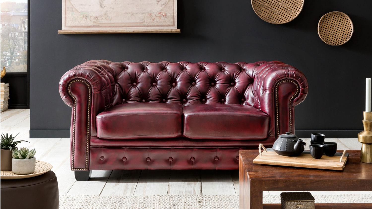 Chesterfield Sofa Leder Rot Chesterfield Sofa 2 Sitzer Leder Rot Antik Luxus