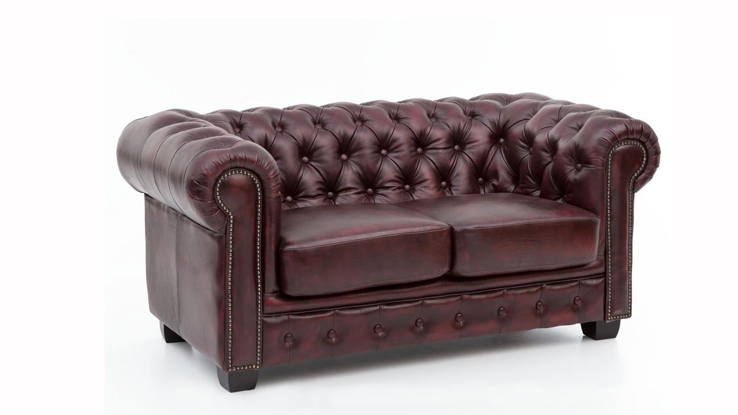 Chesterfield Schlafsofa Chesterfield Sofa 2 Sitzer Leder Rot Antik Luxus