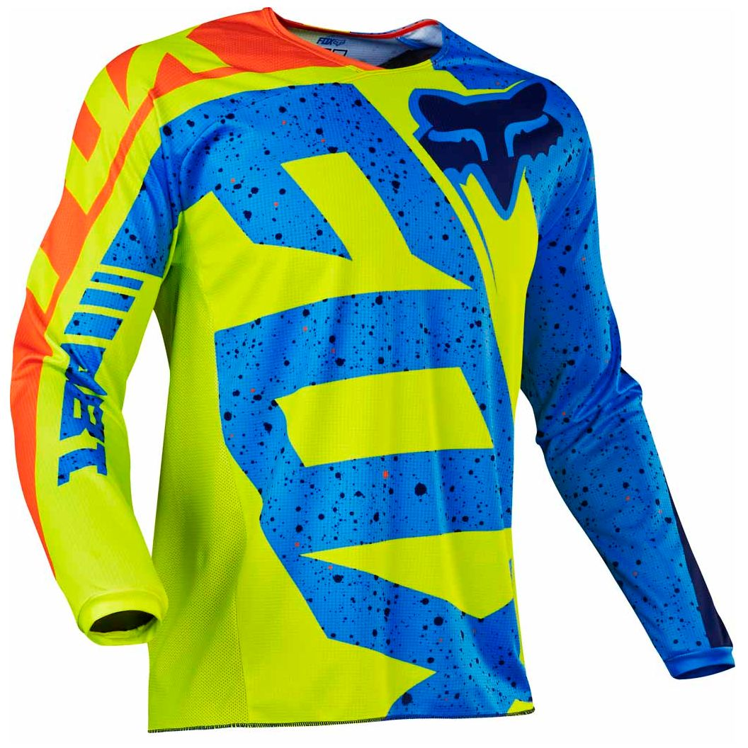 Jaune Et Bleu Maillot Cross Fox 180 Youth Nirv Jaune Bleu