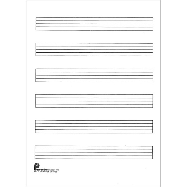 Music Sales Writing Pad #15 6 Stave Extra Wide, 40 Shts, 8X105