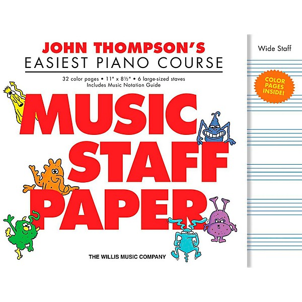Hal Leonard John Thompson\u0027s Easiest Piano Course Music Staff Paper